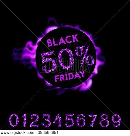 80 Percent Off Black Friday. Violet Neon Fire Design On Black Background. Vector Illustration
