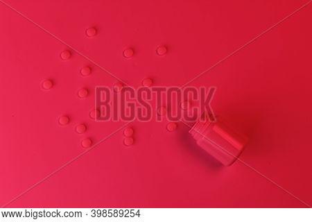 Medicine Concept. Drugs. Bottle Of Pills. Neon Red Night Light