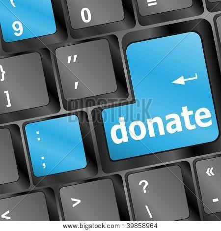 Donate Key Word On Computer Keyboard