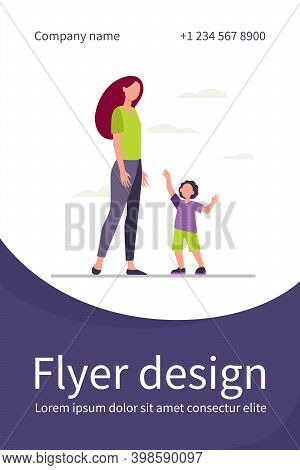 Little Son Reaching Arms To His Mom. Woman And Kid Walking Together Flat Vector Illustration. Mother