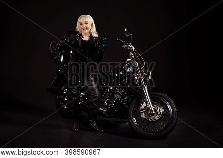 Portrait Of Her She Nice Attractive Fashionable Childish Cool Naughty Cheerful Grey-haired Lady Trav