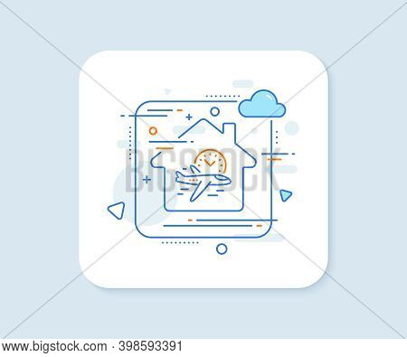 Flight Time Line Icon. Abstract Vector Button. Airplane With Clock Sign. Airport Flights Symbol. Fli