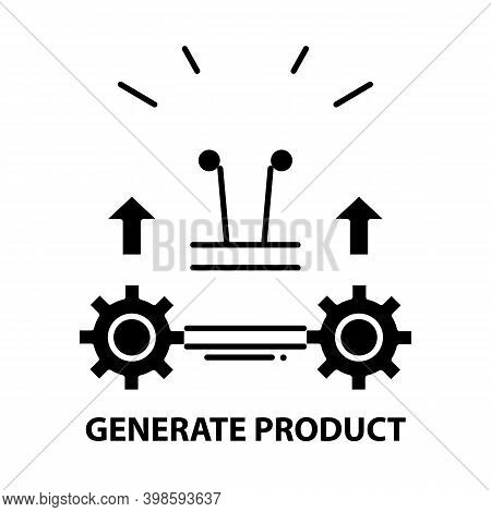 Generate Product Icon, Black Vector Sign With Editable Strokes, Concept Illustration