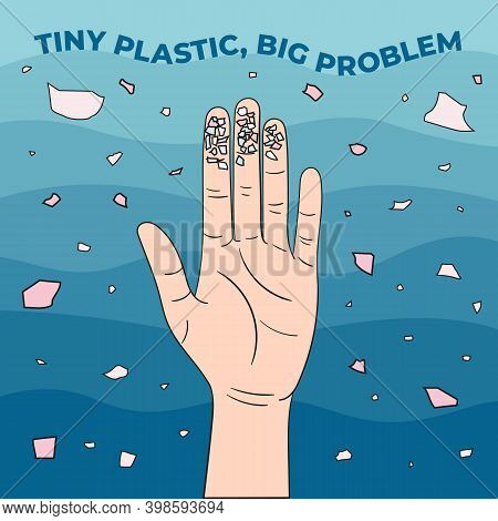 Micro Beads On Fingers. Microplastics In Water From Mismanaged Plastic Waste