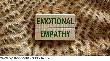 Emotional Empathy Symbol. Wooden Blocks Form The Words 'emotional Empathy' On Beautiful Canvas Backg