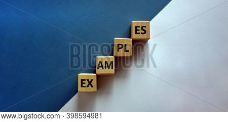 Success Process And Examples Symbol. Wood Blocks With Word 'examples' Stacking As Step Stair On Pape