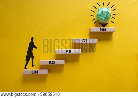Success Onboarding Process Symbol. Wood Blocks Stacking As Step Stair On Yellow Background, Copy Spa