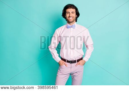 Photo Of Cheerful Positive Curly Wavy Hair Fiance Wear Pink Outfit Hands Arms Pockets Flowers Isolat