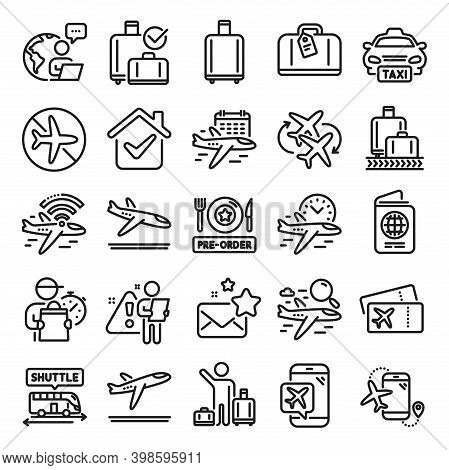 Airport Line Icons. Boarding Pass, Baggage Claim, Arrival And Departure. Connecting Flight, Tickets,