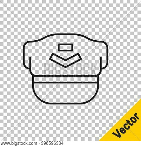 Black Line Pilot Hat Icon Isolated On Transparent Background. Vector