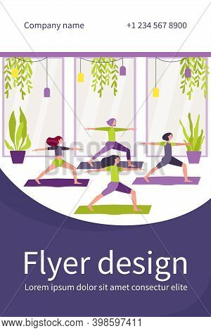 Women Exercising In Fitness Club, Attending Yoga Class, Standing In Warrior Pose On Mat. Flat Vector
