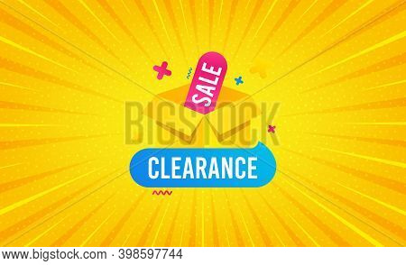 Clearance Sale Banner. Yellow Background With Offer Message. Discount Sticker Box. Special Offer Ico