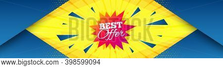 Best Offer Sticker. Abstract Background With Offer Message. Discount Banner Shape. Sale Coupon Bubbl