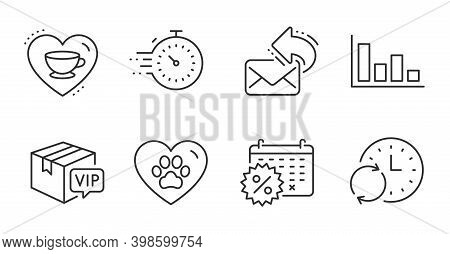 Vip Parcel, Update Time And Calendar Discounts Line Icons Set. Share Mail, Timer And Histogram Signs