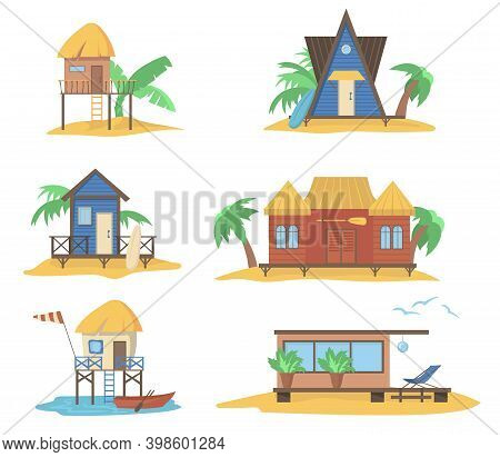 Summer Houses At Sea Set. Wooden Bungalows On Piles, Beach Huts With Straw Tops With Palms And Surfb
