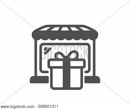 Gift Shop Icon. Souvenirs Market Sign. Retail Marketplace Symbol. Quality Design Element. Flat Style