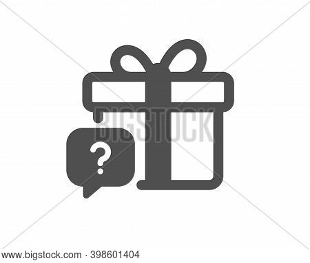 Secret Gift Icon. Unknown Present Box Sign. Question Mark Symbol. Quality Design Element. Flat Style