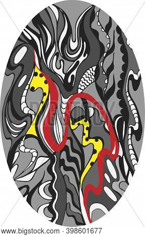 Abstract Design Of Flowing Shapes With Red And Yellow Accents