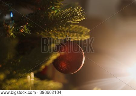 Christmas And New Year Tree With Toys. Christmas Decorations Close-up. New Year Atmosphere. Christma