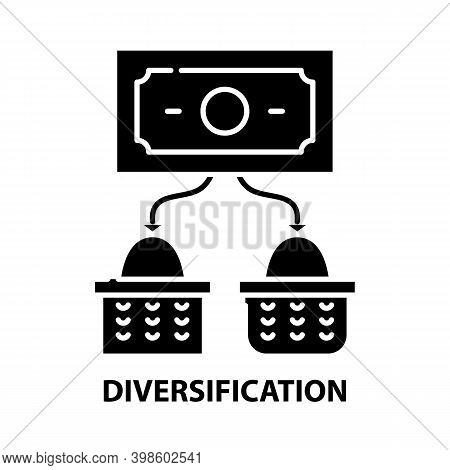 Diversification Icon, Black Vector Sign With Editable Strokes, Concept Illustration