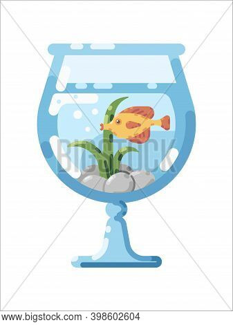 Flat Vector Illustration Of Glass Aquarium With Tropical Fish. Fish Tank Flat Icon. Thorichthys Fish
