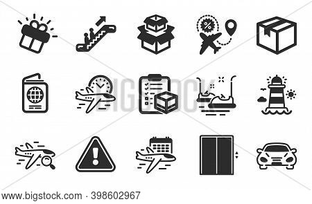 Packing Boxes, Lighthouse And Flight Sale Icons Simple Set. Search Flight, Parcel And Parcel Checkli