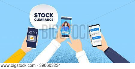 Stock Clearance Sale Symbol. Phone Chat Messages. Special Offer Price Sign. Advertising Discounts Sy