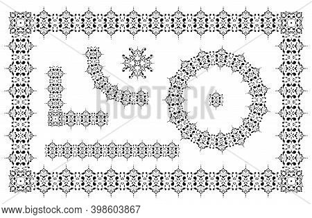 Exquisite Ornament. Set Of Seamless Elements, Frames, Round Frames And Borders. Design Template For