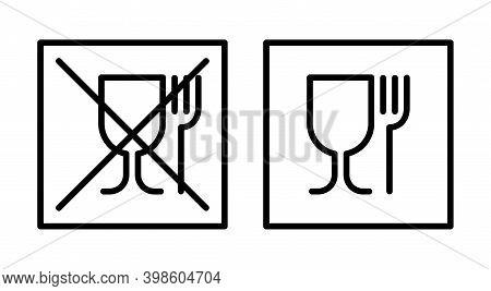 Not Food Grade Plastic Icon. Food Grade Sign