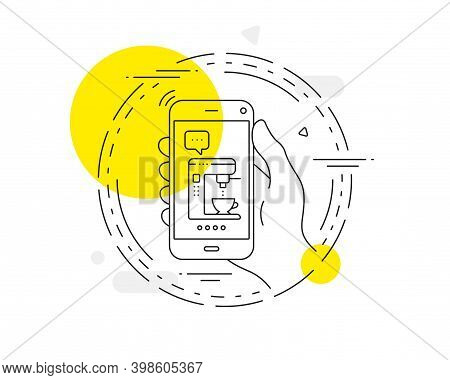 Coffee Maker Line Icon. Mobile Phone Vector Button. Vending Machine Sign. Make Tea Symbol. Coffee Ma