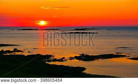 Seascape On Andoya Island, Rocky Coastline At Midnight Sun During Summer, Vesteralen Archipelago, No
