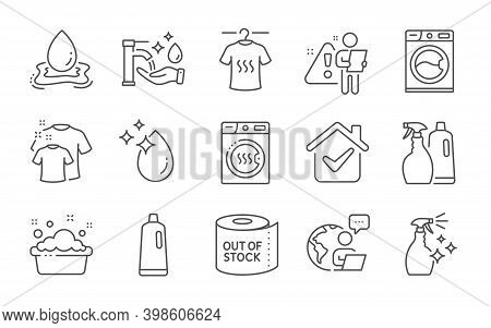 Shampoo, Clean T-shirt And Water Drop Line Icons Set. Hand Washing, Dry T-shirt And Toilet Paper Sig