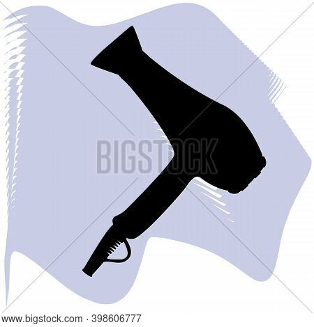 Hair Dryer Vector, Barber, Salon, Hair, Black Hair Dryer On Lilac Spot Icon Of A Set, Isolated On Wh