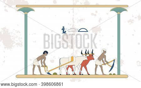 Ancient Egypt Set Of Illustration, Group Of People. Egypt Murals, Ancient Egypt People, People Of Th