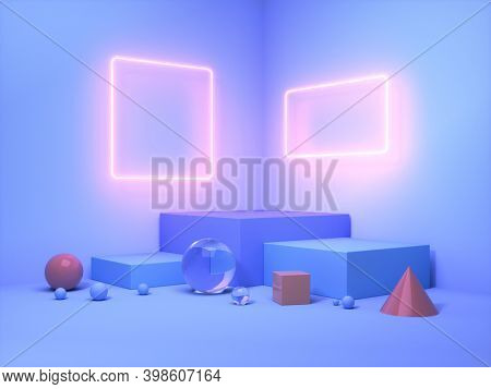 Stand for product with frame neon light, 3D illustration, rendering.