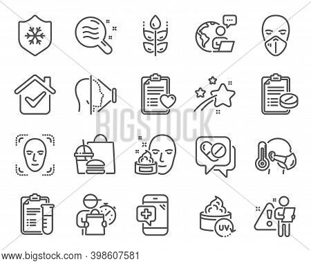 Healthcare Icons Set. Included Icon As Skin Condition, Medical Prescription, Patient History Signs.