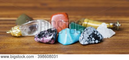 Collection Of Colorful Healing Mineral Crystal Stones, Web Banner