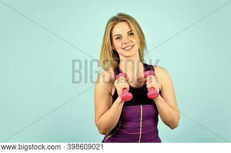 Healthy Body. Take Care Of Your Body. Do Not Stop Till You Drop. Pretty Woman Doing Exercises With D