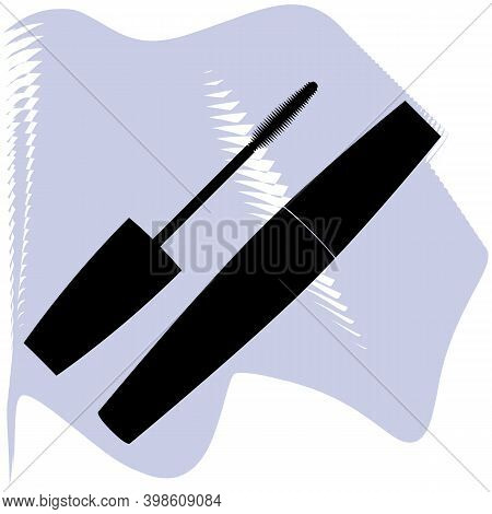 Mascara Vector, Cosmetic, Salon, Eyes, Black Mascara On Lilac Spot Icon Of A Set, Isolated On White