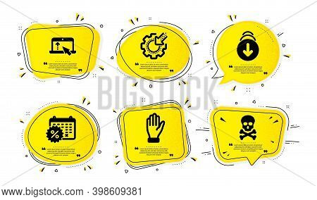 Calendar Discounts, Swipe Up And Scroll Down Icons Simple Set. Yellow Speech Bubbles With Dotwork Ef