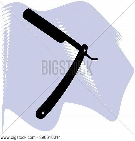 The Straight Razor Icon Of A Set. Shaver Symbol. Vector, Barber, Salon, Hair, Black Razor On Lilac S