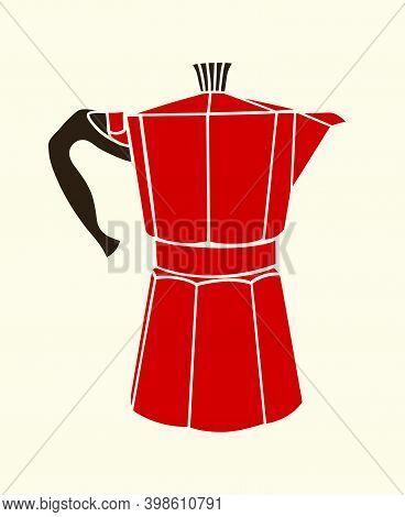 Red Italian Coffee Maker Or Moka Pot, Espresso Machine, Mocha Express. Vector Silhouette Illustratio