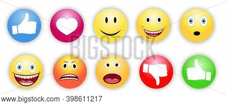 Yellow Emoticons, Set Of Vector Badges For Chat, Social Networks. Thumbs Up, Like, Dislikes. Collect
