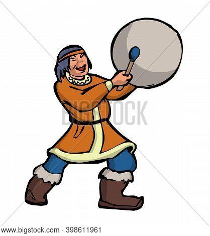 Eskimo Cartoon Character Beats A Tambourine Sings And Dances Traditional Dance Illustration