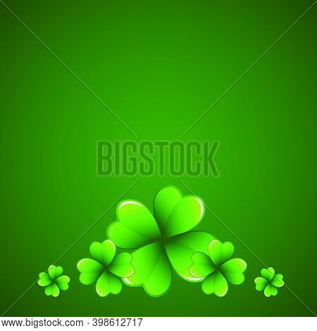 Rich Green Saint Patrick's Day Frame With Four-leaf Clover Shamrock Leaves. Irish Festival Celebrati