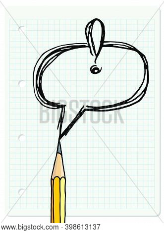 Speech Bubble And Graphite Pencil Over Chequered Notebook Page. Stationery Hand Drawn Vector Doodle