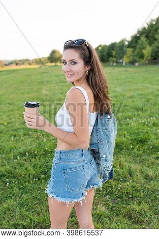 Happy Woman Holding Cup With Coffee Tea In Hands, Emotions Of Happiness, Enjoyment And Relaxation We