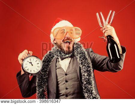 Christmas Party Invitation. Join Christmas Celebration. Man Bearded Hipster Santa Hold Bottle. Corpo