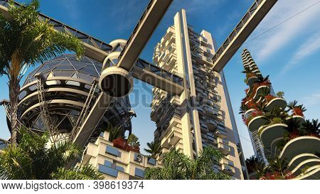 3d Illustration Futuristic Environmental City Architecture With Building Terraces Covered In Vegetat