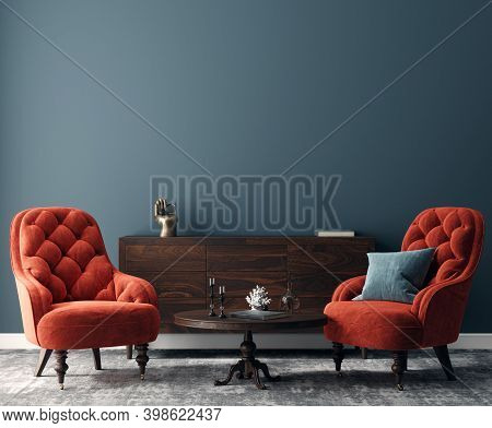 Elegant Dark Interior With Bright Red Armchairs, 3d Illustration